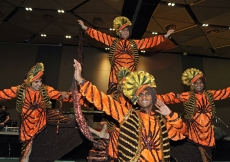 A bhangra troupe performs as part of Jamati celebrations for Mawlana Hazar Imam's Far East visit.