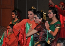 Youth from the Far East, after presenting a cultural performance before Mawlana Hazar Imam at the Institutional Dinner.