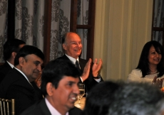 Mawlana Hazar Imam applauds a performance given by the youth, which was dedicated to him.
