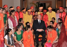 Mawlana Hazar Imam together with the Far East youth, who took part in a cultural performance dedicated to him.
