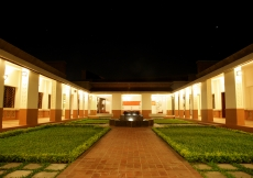 Evening view of the centre courtyard of the Dhaka Ismaili Jamatkhana and Centre.