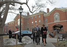 Mawlana Hazar Imam is received by Brown University President Christina Paxson upon his arrival on campus. Hazar Imam was accompanied by Aga Khan University President Firoz Rasul.
