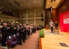 Mawlana Hazar Imam receives a standing ovation at the conclusion of his speech.
