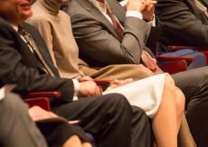 Prince Rahim and Princess Salwa enjoy a light moment as Mawlana Hazar Imam and Brown President Christina Paxson engage in an on-stage chat.