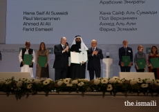 Ahmed Al Ali is honoured at the Aga Khan Award for Architecture 2019 Ceremony for his work on the Wasit Wetland Centre in Sharjah, UAE.