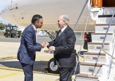 Mawlana Hazar Imam is greeted by Rahim Firozali, President of the Ismaili Council for Portugal.