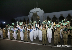 Shaheen scouts and junior guides eagerly awaiting the arrival of Mawlana Hazar Imam