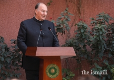 Mawlana Hazar Imam speaking at the inauguration of the CIME's facility.