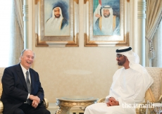 Mawlana Hazar Imam shares a light moment with His Highness Sheikh Mohammed bin Zayed Al Nahyan.