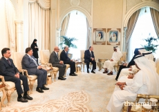 Mawlana Hazar Imam and His Highness Sheikh Mohammed bin Zayed Al Nahyan accompanied by their delegations.