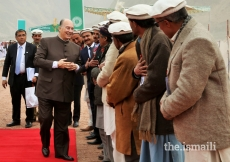Mawlana Hazar Imam greets the local leadership during his arrival at Booni, Upper Chitral