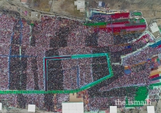 An aerial shot of the Jamat gathering for the Darbar at Aliabad, Hunza