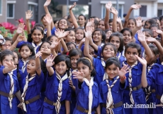 Young girl guides from Kompally Jamat Khana in Secundrabad, Telangana.