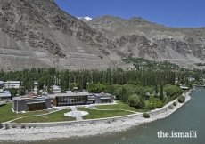 Bird's eye view of the Ismaili Jamatkhana and Centre, and Khorog Park, situated beside the Gunt River in Gorno-Badakhshan.