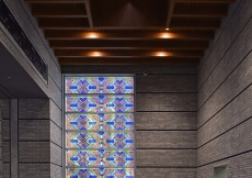 Stained glass windows at the Centre, influenced by traditional Tajik embroidery patterns.