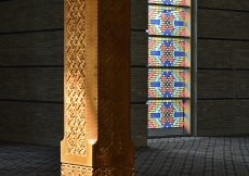 Carved wood pillars at the Ismaili Jamatkhana and Centre, Khorog detail the intricate craftsmanship.