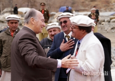 Mawlana Hazar Imam greets the local leadership as he departs from Garamchashma, Lower Chitral