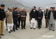 Mawlana Hazar Imam in conversation with officials at the Chitral Airport