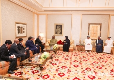 Mawlana Hazar Imam in conversation with His Highness Sheikh Mohammed bin Rashid Al Maktoum and Her Excellency Reem Bint Ebrahim Al Hashimy, together with their respective delegations at the Zabeel Palace in Dubai.