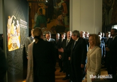 Mawlana Hazar Imam tours the exhibition Ideals of Leadership: Masterpieces from the Aga Khan Museum Collections, hosted at the Parliament building, São Bento Palace in Lisbon.