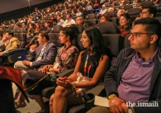 The audience actively listens to keynote speaker Naseeruddin Shah.