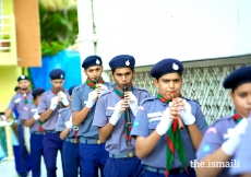 Hyderabad Chirag Ali lane Jamatkhana Scouts showcasing a celebratory band performance.