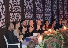 Mawlana Hazar Imam and members of his family applaud the artists at the end of the performance.  Photo: Zahur Ramji