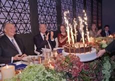 Members of Hazar Imam's family applaud as the birthday cake is presented to Mawlana Hazar Imam. Photo: Zahur Ramji