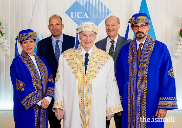 Mawlana Hazar Imam and members of his family pose for a group photograph on the occasion of the University of Central Asia's inaugural convocation, hosted on 19 June 2021.