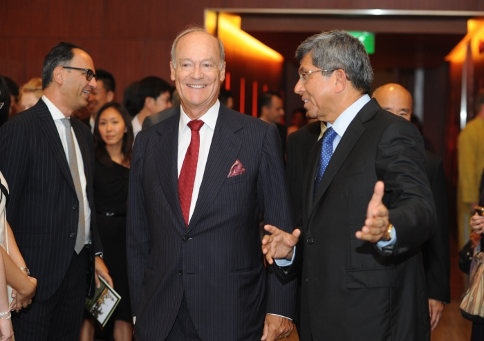 """Dr Yaacob Ibrahim, Singapore's Minster for Information, Communications and the Arts, and Prince Amyn arrive at the inauguration ceremony for """"Treasures of the Aga Khan Museum""""."""