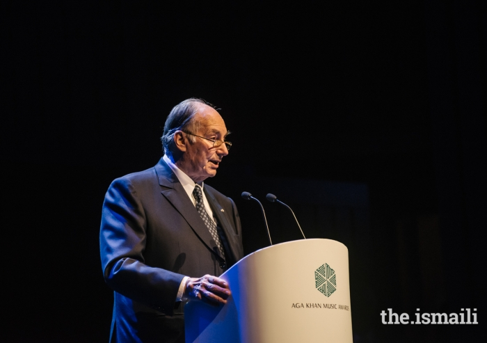 Mawlana Hazar Imam delivers remarks at the inaugural Aga Khan Music Awards, held at the Gulbenkian Foundation in Lisbon, Portugal.