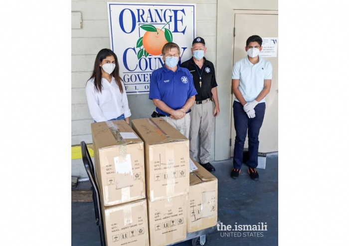 Boxes of masks that were donated to Orange County Emergency Management Services.