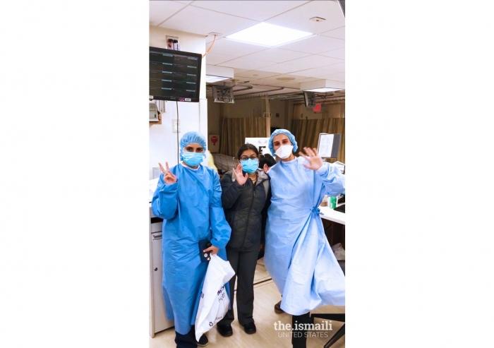 Physicians Samreen Khwaja, Sara Huda, and Fazila Lalani working in the Emergency Room.