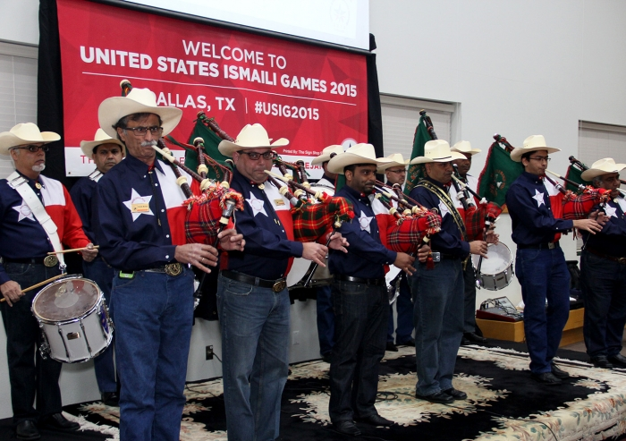 An Ismaili pipe band from Dallas performing at the US Ismaili Games pep rally held in Dallas on 21 November. Umair Ali