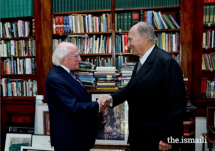 Mawlana Hazar Imam is received by His Excellency President Michael Higgins of Ireland at Áras an Uachtaráin.