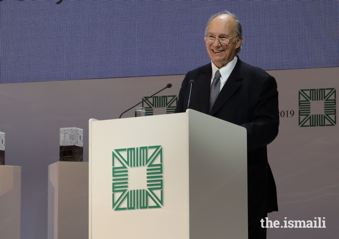 Mawlana Hazar Imam addresses guests at the Aga Khan Award for Architecture Ceremony in Kazan on 13 September 2019.
