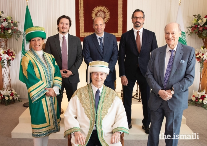 Mawlana Hazar Imam and members of his family pose for a group photograph on the occasion of the Aga Khan University's first ever global convocation, hosted on 22 May 2021.