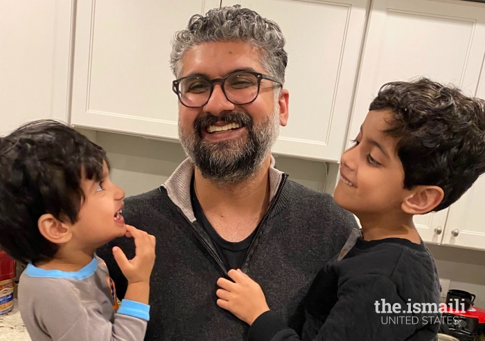 Sonny Sultani having fun with his children at his Chicago home.