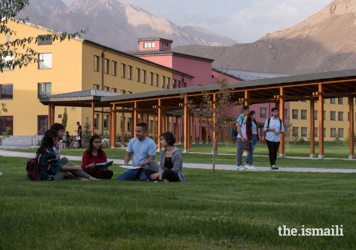 Students enjoying the outdoor landscaping at the UCA Khorog Campus.