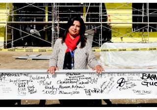 Shehnaz Wadhwania at the beam-signing of Abram Agnew Elementary School in Santa Clara, CA.