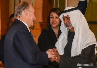 Mawlana Hazar Imam is welcomed by His Excellency Sheikh Nahayan Bin Mabarak Al Nahayan, Minister for Tolerance, and Her Excellency Reem Bint Ebrahim Al Hashimy, Cabinet Member and Minister of State for International Cooperation upon his arrival in Dubai.
