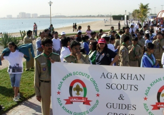 Ismaili Volunteers and members of the Aga Khan Scouts and Guides gather at Mamzar Park for the 2008 Dubai Terry Fox Run.