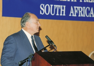 His Highness the Aga Khan delivering a speech at the Commonwealth Press Union Conference held in Cape Town.