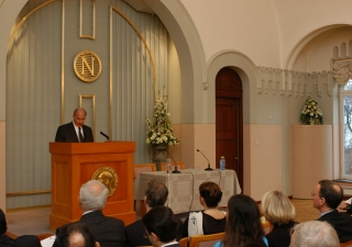 Mawlana Hazar Imam delivers his address at the Norwegian Nobel Institute to an audience of academics, diplomats, civil society leaders, and representatives from the Norwegian government and the private sector.