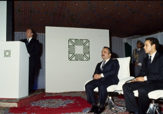 His Highness the Aga Khan speaking at the Aga Khan Award for Architecture ceremony, as Crown Prince Hassan Ibn Talal of Jordan (left) and Crown Prince Sidi Mohamed of Morocco look on.