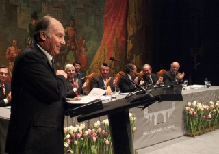 His Highness the Aga Khan makes his acceptance remarks at the Royal Foundation ceremony in Toledo.