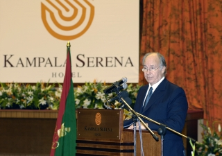 Mawlana Hazar Imam speaking at the opening ceremony of the Kampala Serena hotel.