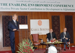 Mawlana Hazar Imam speaking at The Enabling Environment Conference, as President Hamid Karzai and Prince Amyn look on.
