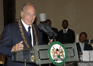 Mawlana Hazar Imam addresses the gathering after receiving the Kenyan's highest medal of honour, the Chief of the Order of the Golden Heart of Kenya, by President Kibaki at the State House, Nairobi.