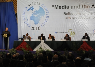Mawlana Hazar Imam delivering the Founder's Address at the Pan Africa Media conference, celebrating the 50th Anniversary of the Nation Media Group.